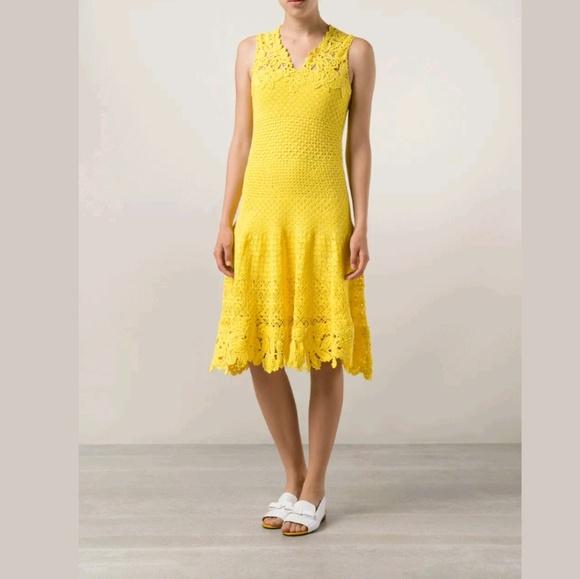 d8ca23c9606c Oscar de la Renta Dresses | Yellow Canary Crochet Knit Dress | Poshmark